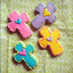 Colorful Easter Cross cookies. Sugar cookies decorated with glaze icing. By Blue Sugar Cookie Co. www.Facebook.com/bluesugarcookieco