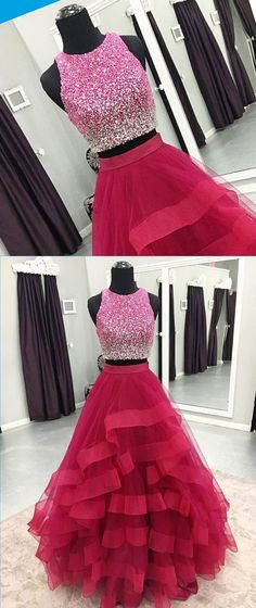 Hot pink tulle two piece sequins long homecoming dress, long halter party dress for teens #prom #dress #promdress #promdresses