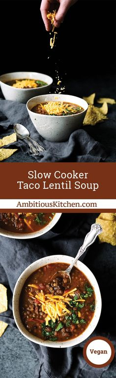 Slow Cooker Taco Lentil Soup that's both vegan and gluten free. You'll love this easy meal packed with plant-based protein!
