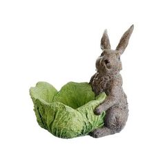 "10.5"" Adorable Bunny Rabbit with Cabbage Bowl Spring Easter Candy Dish"