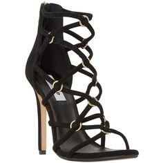 Dune Memphiss Strappy Stiletto Heel Loop Detail Sandals , Black Suede ($130) ❤ liked on Polyvore featuring shoes, sandals, black suede, high heel stilettos, strappy high heel sandals, black evening shoes, black flat shoes and black stilettos