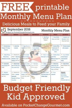 Delicious meals to feed your family in the Printable September Monthly Menu Plan! Budget friendly meal plan - Kid approved! Print out your FREE copy today!