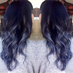 Steel blue grey ombre balayage with black roots and soft curls ...