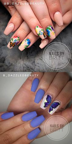 If you are searching for cute nail colors for spring and beautiful spring nail designs then check our Stylish nails especially Floral nails and butterfly nails. Nail Art Designs, Butterfly Nail Designs, Butterfly Nail Art, Acrylic Nail Designs, Cute Nail Colors, Cute Nail Art, Gorgeous Nails, Pretty Nails, Nail Design Spring