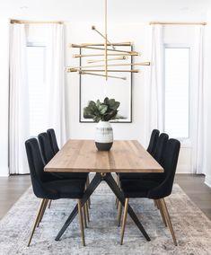 Dining Room Inspiration, Home Decor Inspiration, Dinning Room Ideas, Design Inspiration, Small Dining, Dining Room Design, Dining Room Modern, Black Dining Room Table, Mid Century Modern Dining Room