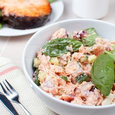 """""""Wild Salmon Salad - This recipe is an upgrade on the classic tuna salad. I use canned wild salmon instead, which is one of the best sources of fats and vitamin D"""" Canned Salmon Recipes, Salmon Salad Recipes, Fish Recipes, Seafood Recipes, Dinner Recipes, Cooking Recipes, Healthy Recipes, Delicious Recipes, Canned Salmon Salad"""