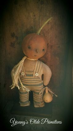 **Primitive Standing Pumpkin Boy Doll Fall Halloween**