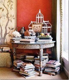 Books: the only objects that can't create clutter. Stack 'em everywhere. I 35 Things To Do With All Those Books