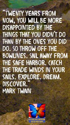 """Twenty years from now, you will be more disappointed by the things that you didn't do than by the ones you did do. So throw off the bowlines. Sail away from the safe harbor. Catch the trade winds in your sails. Explore. Dream. Discover."" Mark Twain"