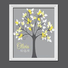 Cute Nature Yellow Grey Charcoal White Swirl Tree by trmDesign, $30.00