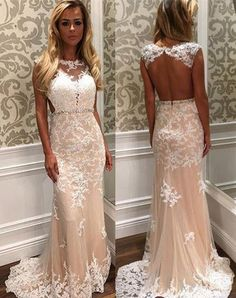 Illusion neck Appliqued Prom Dresses, Backless Sweep-Train Prom dress ASD2530 backless sexy prom dress,appliqued prom dress, sweep train prom dress.tulle