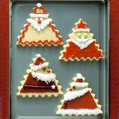 TO DO: I know these are Santa Cutout cookies, but I think these would make cute felt ornaments or brooches! I am going to try to adapt this idea to felt project.