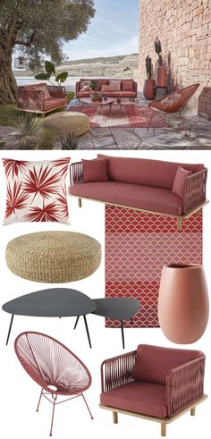 nouvelle collection Maisons du Monde terrasse en pierre meuble rouge design de jardin salon de jardin meuble mobilier corde rouge terracotta - blog déco - clem around the corner