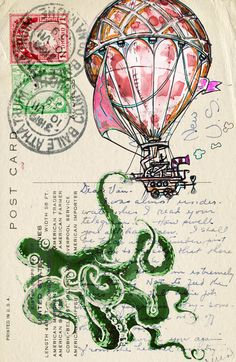 mixed media Octopus illustration Hot Air Balloon watercolor Poster Print We all live in a pink hot air ballon#
