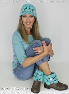 Free Pattern - Mariposa Boot Cuffs and Beanie from The Crochet Lounge - Crocheted by Naztazia