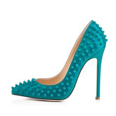 pumps: Onlymaker Ladies Women's High Heel Closed Toe Pumps Rivet Studded Sandals Handmade For Wedding Party Dress Stiletto Shoes Coppy Leather Blue US Size 6 Pointed Toe Pumps, High Heel Pumps, Women's Pumps, Stilettos, Christian Louboutin, Louboutin Shoes, Frauen In High Heels, Studded Sandals, Spike Heels