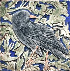 """William Morris Raven - This handmade porcelain tile was inpsired by William Morris' 1887 Forest Tapestry that now hands in the Victoria and Albert Museum.  The tile is 4 x 4"""". B.A.Schmidt Arts"""