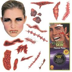 Monster Make up Kit and accessories. This kit comes with 1 Monster denture a container of creepy skin and three scar/wound temporary tattoo sheets Realistic Temporary Tattoos, Fake Tattoos, Creepy Skin, Scary, Zombie Halloween Costumes, Gaming Tattoo, Makeup Kit, Picture Tattoos, Dental