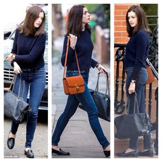 Anne Hathaway - casual style - all blue with a pop of orange