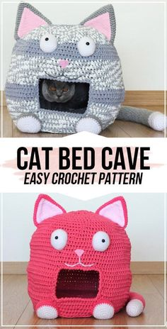 Crochet Cat Bed Cave pattern - easy crochet cat-cave pattern for beginners Knitting For BeginnersKnitting For KidsCrochet Hair StylesCrochet Baby Diy Crochet Cat Bed, Cat Cave Crochet Pattern, Gato Crochet, Crochet Cat Toys, Crochet Animal Patterns, Stuffed Animal Patterns, Crochet Home, Stuffed Animals, Free Crochet