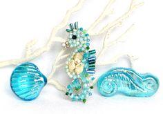 Seahorse Seashell aquamarine turquoise Seahorse Home by LonasART