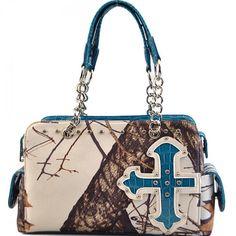 Concealed Carry Rhinestone Buckle Mossy Oak Camo Handbag – Hay River Tack and Supplies Camo Bridesmaid Dresses, Concealed Carry Handbags, Mossy Oak Camo, Shoulder Bag, Purses, Blue, Knives, Size 14, Guns