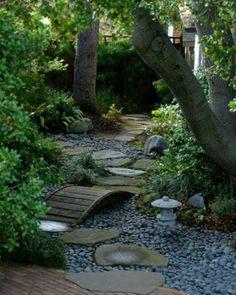 Rock walk way back yard
