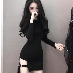 New Vintage Gothic Women sexy bodycon dresses fashion brands club Female Long sleeve Black mini short Slim Tight dress vestidos Edgy Outfits, Cute Casual Outfits, Grunge Outfits, Ulzzang Fashion, Korean Fashion, Girl Fashion, Fashion Dresses, Mode Kpop, Jolie Lingerie
