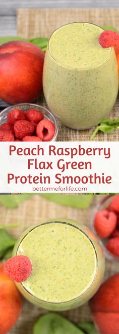 This peach raspberry flax green protein smoothie is a deliciously thick, creamy smoothie. Packed with fiber to keep you feeling full for longer, it's great for weight loss. Recipe at BetterMeforLife.com | green protein smoothie recipes | healthy green protein smoothies | green protein smoothies for weight loss | green protein smoothie recipes weight loss | green protein smoothie recipes diet #greenproteinsmoothies #greenproteinsmoothierecipes #greenproteinsmoothie #green_protein_smoothie