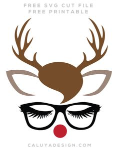 FREE glasses reindeer SVG cut file, Printable vector clip art download. Free printable clip art Funny Quotes. Compatible with Cameo Silhouette, Cricut explore and other major cutting machines. 100% for personal use, only $3 for commercial use. Perfect for DIY craft project with Cricut & Cameo Silhouette, card making, scrapbooking, making planner stickers, making vinyl decals, decorating t-shirts with HTV and more! deer SVG file, free SVG cut file, animal SVG cut file