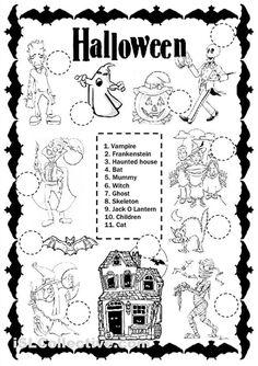 Halloween Boardgame worksheet - Free ESL printable worksheets made by teachers Halloween Books, Halloween Pictures, Halloween Themes, Halloween Crafts, Halloween Stories, Halloween Costumes, Halloween Worksheets, Halloween Activities, Summer Activities For Kids