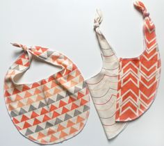 Baby Bibs, Gift Set of 3, Coral, Peaches and Pinks, Modern Geometric Prints, Organic Baby Gift. , via Etsy.