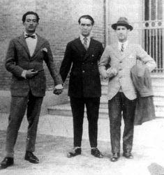 Salvador Dalí, Federico García Lorca and Jose 'Pepin' Bello, 1926. Photo taken by Luis Buñuel.