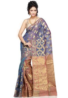 Royal Blue, Beige and Light Red Art Silk Saree with Blouse