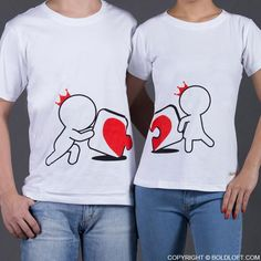 """Once you find the missing piece to the puzzle of your life, things will never be the same. This cute couple's t-shirt duo beautifully illustrates that special type of love! BoldLoft """"Incomplete Without You"""" Matching Couple Shirts. Couple Tees, Matching Couple Shirts, Couple Tshirts, Matching Couples, Cute Couples, Christmas Gifts For Girlfriend, Boyfriend Gifts, Shirts Bff, Couple Outfits"""