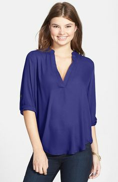 Lush Roll Tab Sleeve Woven Shirt (Juniors) available at #Nordstrom - size small , color midnight