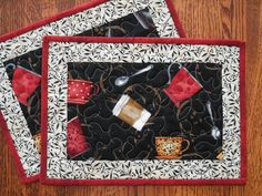 Pair of Quilted Coffee Mug Rugs  Place Mats  by susiquilts on Etsy, $20.00