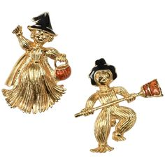 Avon Signed Orange & Black Enamel Autumn Scarecrow Witch Figural Halloween Scatter Pin Set ~ Perfect for Fall! Bat Costume, Costumes, Zombie Pumpkins, Glass Toys, Vintage Fall, Halloween Ghosts, Autumn Inspiration, Black Enamel, Wearing Black