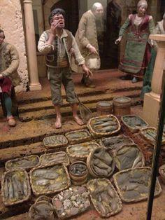 LA MIRADA ACTUAL: EL BELEN NAPOLITANO DEL PALAU MARCH Hobbies And Crafts, Diy And Crafts, Medieval Market, Market Stands, Winter Painting, Xmas, Christmas, Diorama, Action Figures