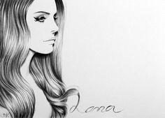 Lana del Rey FineArt unterzeichnet Print Bleistiftzeichnung