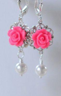 Hot Pink Rose Dangle Earrings. Rose Pearl Bridesmaid
