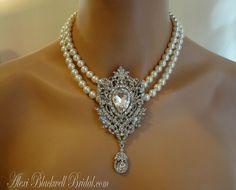 Princess Bridal Pearl Necklace with Rhinestone Brooch Ivory Swarovski Pearls by AlexiBlackwellBridal, $125.00