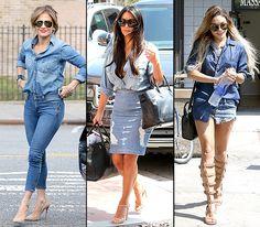Celebs love wearing the double denim style trend. See stars like Jennifer Lopez, Kim Kardashian, and Vanessa Hudgens in the head to toe street style look.