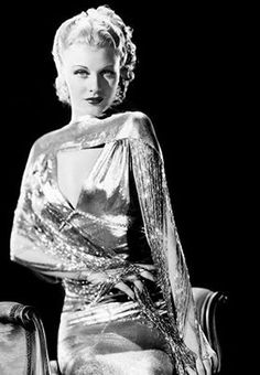 Ginger Rogers 30s 40s metallic dress gown evening photo print ad movie star model
