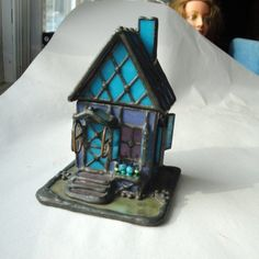 Stained Glass Fairy Tale House Candle Holder by VintageStarrBeads