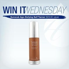 This week's #winitwednesday giveaway is Hydroxatone Sunsoak Age-Defying Self Tanner- Perfect for a healthy tan and more radiant look while still fighting the signs of aging!