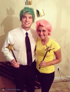 Brad: Our costume is from the tv show Fairly Odd Parents. We made them to look like Timmy Turners Fairy god parents Cosmo and Wanda.