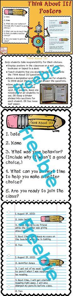 Freebie!! Back to School Classroom Management Poster Set.