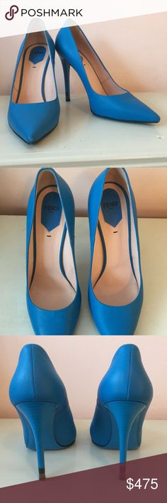 Fendi Matte Blue Leather Pumps Authentic Fendi pumps. Gently used. Comes with original box, replacement stiletto tips, authenticity card, and a dust bag for each shoe. Size 40. Fendi Shoes Heels