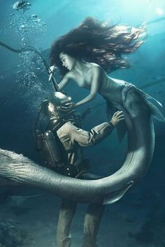 Diver And The Mermaid Mobile Wallpaper - Mobiles Wall Fantasy Creatures, Mythical Creatures, Sea Creatures, Siren Mermaid, Mermaid Art, Mermaid Paintings, Fantasy Mermaids, Mermaids And Mermen, Dark Fantasy